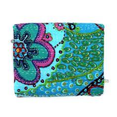 Queen Kantha Quilt Indian Bedding Handmade Bedspread Cotton Throw Bedcover X018 #Handmade #Kantha
