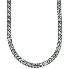 Esquire Men's Jewelry Wide Link (5-1/4mm) Curb Chain in Sterling... ($248) ❤ liked on Polyvore featuring men's fashion, men's accessories, cuff links, sterling silver, mens sterling silver chains, mens cuff links, mens curb chain and mens chains