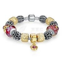 Barbara丨Red Murano glass Beads Gold and Silver Beads Charm Bracelet