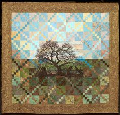 """""""My tree with crows"""" by Claudia Scheja. Trophy for Longarm Quilting. 2014 OEQC. Posted at Creativa - Brussels."""