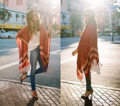 Urban Outfitters Poncho, 7 For All Mankind High Waisted Jeans, Sam Edelman Leopard Print Heels