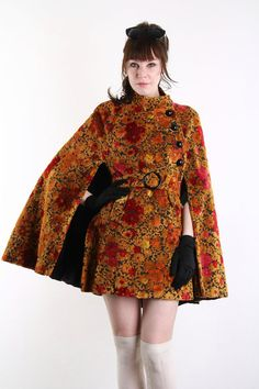 AWESOME Vintage Cape  Chenille Floral  1960s Outer Wear by VeraVague