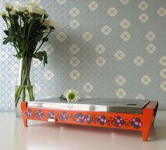 Vintage Brabantia Hot Plate with Orange, Blue and Purple Floral Design Called Diane 70s door Vantoen op Etsy