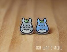 Orecchini Totoro e Totoro blu, Il mio vicino Totoro, Studio Ghibli, Miyazaki - orecchini kawaii, gioielli Studio Ghibli, idee regalo
