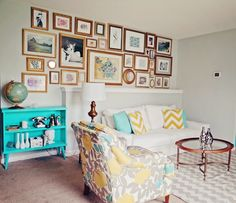 Turquoise Yellow and Gray Living Room via Designpardeux