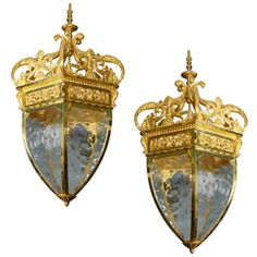 Beautiful Pair Of French Bronze Lanterns