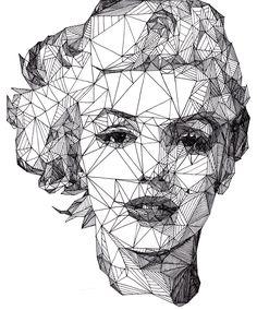 Geometric portrait of Marilyn Monroe Art And Illustration, Illustrations, Portrait Illustration, Art Design, Graphic Design, Blog Design, Graphic Art, Fantasy Magic, Arte Pop