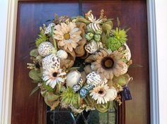 Neutral Burlap and Mesh Spring/Summer Wreath by HertasWreaths on Etsy