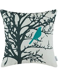 Euphoria CaliTime Throw Pillow Cover Vintage Birds Branches, 18 X 18 Inches, Teal Black ❤ Qingdao Ray Trading Co., Ltd.