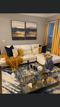 Blue Living Room Decor, Living Room Color Schemes, New Living Room, Home Decor Bedroom, Living Room Designs, Blue And Gold Living Room, First Apartment Decorating, Home Design Decor, Apartment Living
