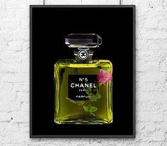 chanel no 5 perfume bottle colorful fashion illustration fine art print illustration aquarell. Black Bedroom Furniture Sets. Home Design Ideas