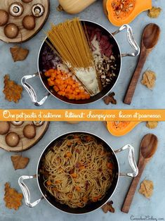 One pot pasta d'automne: butternut, champignons, bacon et parmesan - Amandine Cooking - - Quick Soup Recipes, Healthy Recipes On A Budget, Side Recipes, Pasta Recipes, Parmesan Recipes, One Pan Pasta, Pot Pasta, Batch Cooking, Easy Cooking