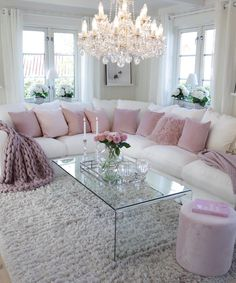 How To Manage Romantic Living Room Decor 17 Fancy Living Rooms, Luxury Living Room, Home Living Room, Pink Living Room, Pink Living Room Decor, Living Room Sets, Apartment Living Room, Apartment Decor, Romantic Living Room