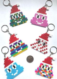 Emoji Poo Christmas Keyrings Pkt (6) New Hama Bead Handmade UK