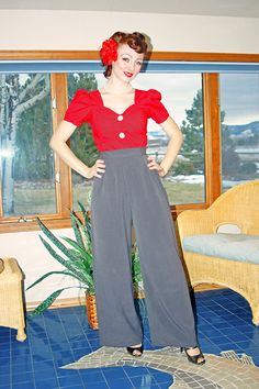 Wide Leg Trousers in Gray for Swing Dancing by NicoleKatherine, $70.00