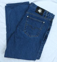 Versace Jeans Couture Size 38 Vintage Blue Straight Leg Button Fly #4659995 #Versace #ClassicStraightLeg