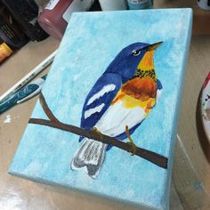 Another simple little #painting is done. I can't wait until the Northern Parulas arrive this #spring #birds #art