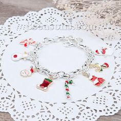 Wholesale New Fashion Christmas Clip On Charms Bracelets Link Cable Chain Silver Plated Multicolor Enamel  – 8seasons.com