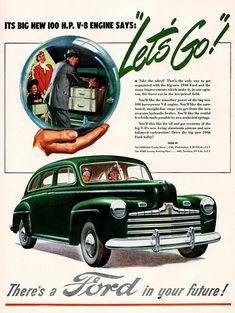 Original, vintage Ford Car advertisement from April 1946.