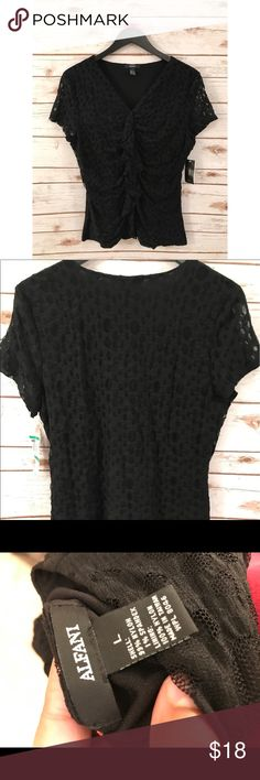 🛍NWT🛍 Alfani Career Dotted Black Blouse • size LARGE✨ • Beautiful dotted-Lace black detailing • NWT✨ never worn. • Career shirt, perfect for work. Can be dressed up or down! • bust is 19' laying flat. Length is 24'. • Singed sides, beautifully form-fitting! Alfani Tops Blouses
