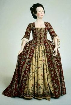Dress (robe à la française)        French, 1775         France  Dimensions      Center back length: 150.5 cm (59 1/4 in.) (pictured with 43.570)  Medium or Technique      Printed glazed cotton  Classification      Costumes     Accession Number      55.1006  Not on view