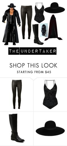 """""""The Undertaker GenderBender"""" by imthebestintheworldatwhatido-y2j ❤ liked on Polyvore featuring beauty, WWE, AG Adriano Goldschmied, Fleur du Mal, George and Maison Michel"""