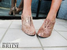 Now you can step out it shiny style with these SUPER simple DIY glitter booties. The perfect way to put your best foot forward without designer shoe prices!