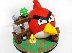 Red Angry Bird Cake. - Cake by Danielle Lainton