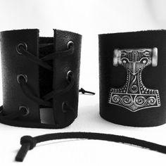 Mjolnir leather cuff