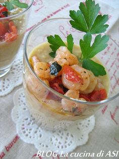 Una morbida crema di ceci con gamberetti e pomodorini ,da gustare tiepida o fredda molto gustosa come antipasto...Ricetta antipasto La cucina di ASI