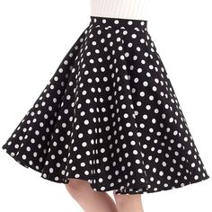 Women's Vintage Cotton Swing Skirts - Polka Dot Black
