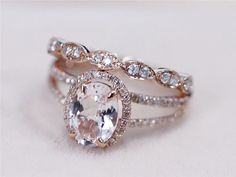 love the color, shape, setting, and wedding band. not crazy about the engagement band. 2 Rings Set - VS Pink Morganite Ring with Diamond Matching Band Wedding Ring Set Rose Gold Morganite Ring Diamond Engagement Ring Ring Rosegold, Rose Gold Morganite Ring, Diamond Rings, Diamond Engagement Rings, Oval Engagement, Morganite Engagement, Engagement Bands, Solitaire Diamond, Diamond Jewelry
