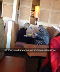 When this woman took pity on a lonely diner.