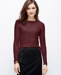 Jewel Neck Long Sleeve Tee | Ann Taylor Casual Friday doesn't always mean jeans, try a skirt and a long sleeve tee.