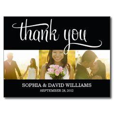 TRENDY THANKS   WEDDING THANK YOU CARD POSTCARD