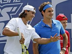Nadal and Federer at the 2007 U.S. Open Arthur Ashe Kids' Day.