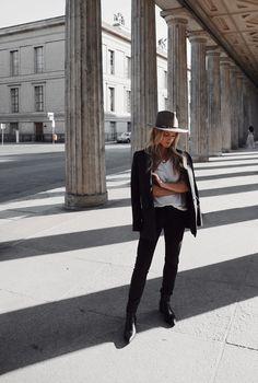 Janessa Leone hat, Margaux Lonnberg x Mija blazer, Nili Lotan denim, Aeyde boots. Via Mija