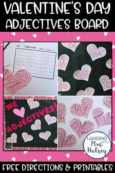 A fun, free bulletin board idea to help you practice kind adjectives, kindness, and typing skills in the classroom! Perfect for Valentine's Day or any other time of the year! Post also includes free directions and printables so you can DIY. List Of Positive Adjectives, Good Adjectives, Tagxedo, Valentines Day Bulletin Board, Typing Skills, Positive Traits, Parts Of Speech, Character Education, Board Ideas