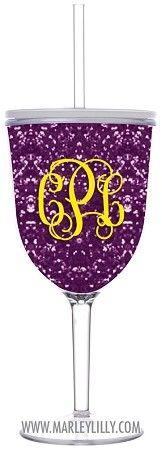 Monogrammed 13oz Purple Glitter Double Wall Acrylic Wine Cup