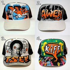 Introducing my first project for 2017... a series of handpainted trucker caps. I first approached a friend at ZAXL South Africa looking to get hold of a single cap to experiment with, but instead he jumped on board and supplied me with several more to make a proper project out of it. So Shoutout to Jermaine Charles from ZAXL for the support. Materials include Sharpie Stained fabric markers and Posca paint markers. Each cap is going for R300 Excl delivery. Only available to South African r...