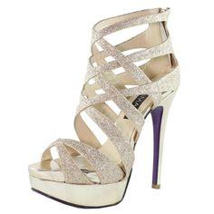 Glitter Leather High Heel Shoe