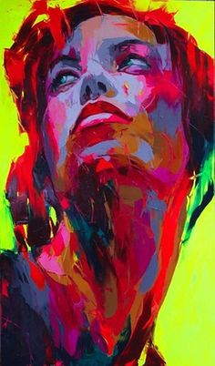 This reminds of a portrait project I just learned about! Use construction paper, draw the portrait, lay tempera paint pretty thick in an abstract way leaving part of the paper showing underneath then cover in India Ink, wash the india ink off and voila!