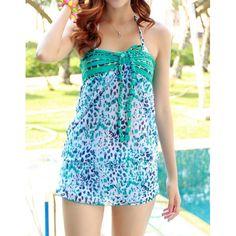 Full Printed Sexy Halterneck Three-Pieces Women's Swimwear, GREEN, XL in Swimwear | DressLily.com