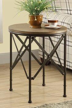 Bronze Metal/Brown Veneer Top Accent Table