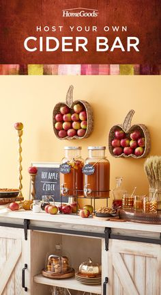 Mull this over before your next get together. Start with the perfect bar cart. Add harvest decor, like wreaths and pumpkins. Fill a tray with glass mugs of warm apple cider. Sprinkle with cinnamon and serve! Shop all of this & more, in stores now!