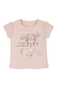 Primark - Pink Hello Sunshine T-Shirt Girls Tees, Shirts For Girls, Illustration Girl, Girl Illustrations, Hello Sunshine, Sweater Knitting Patterns, Kids Girls, Kids Outfits, Shirt Designs