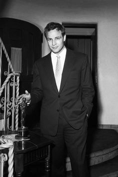Marlon Brando with his Best Actor Oscar for 'On the Waterfront', 1955.