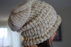 Slouchy Knitted Thick Beanie Almond Beige Color