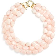 Rental Kenneth Jay Lane Trio Rose Quartz Necklace (380 ZAR) ❤ liked on Polyvore featuring jewelry, necklaces, pink, pink jewelry, kenneth jay lane necklace, rose quartz jewelry, triple necklace and long pink necklace