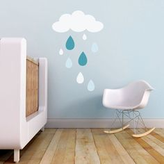 Cloud Wall Decal, Baby Room Wall Decal, Rain Drops Wall Decal, Kids Wall Decal. Rain Drops Children Wall Decal